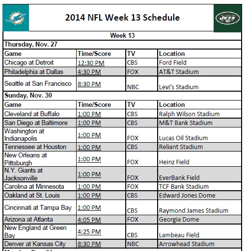 image relating to Nfl Week 13 Printable Schedule titled 7 days 13 - PrinterFriendly