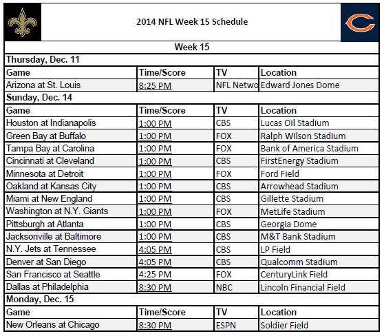 graphic relating to Nfl Week 11 Printable Schedule identified as 7 days 15 - PrinterFriendly