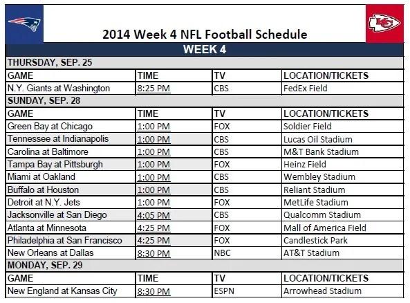 2014 NFL Week 4 Schedule