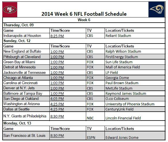 image relating to Nfl Week 6 Printable Schedule known as 7 days 6 - PrinterFriendly