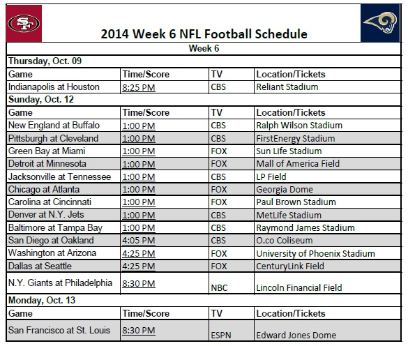 2014 NFL Week 6 Schedule a