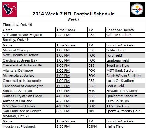 graphic regarding Nfl Week 7 Printable Schedule called 7 days 7 - PrinterFriendly