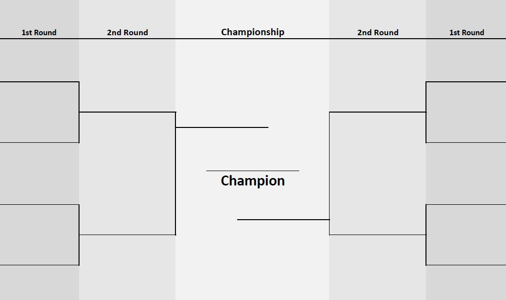 Tournament bracket with 2 sides and 8 teams (printable PDF)