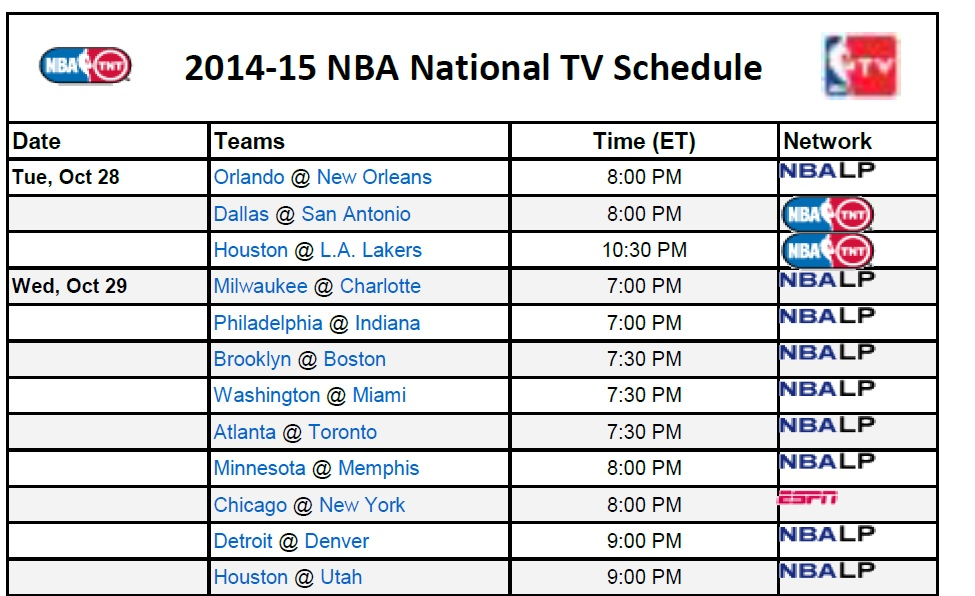 picture regarding March Madness Tv Schedule Printable named Printable NBA Television Plan 2014-15 - PrinterFriendly