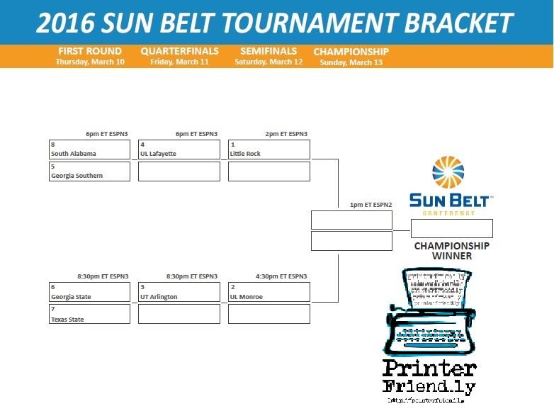 picture regarding Printable Acc Tournament Bracket identify Obtain Your Printable 2016 Sunshine Belt Event Bracket