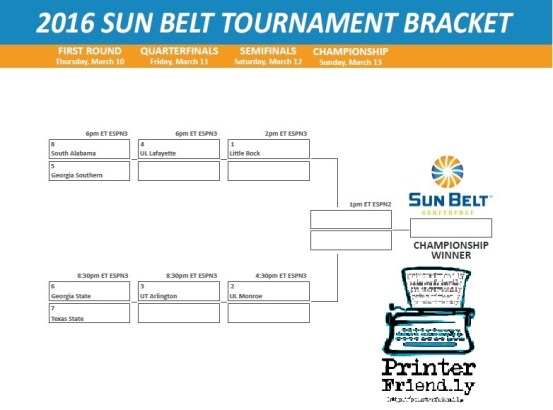2016 Sun Belt Tournament Bracket PF
