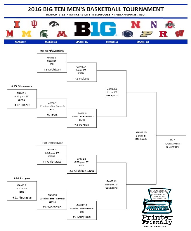 Get Your Printable 2016 Big Ten Basketball Tournament