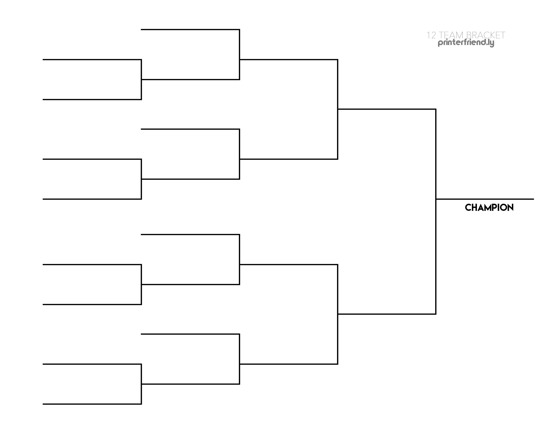 12-team printable bracket (single-elimination tournaments