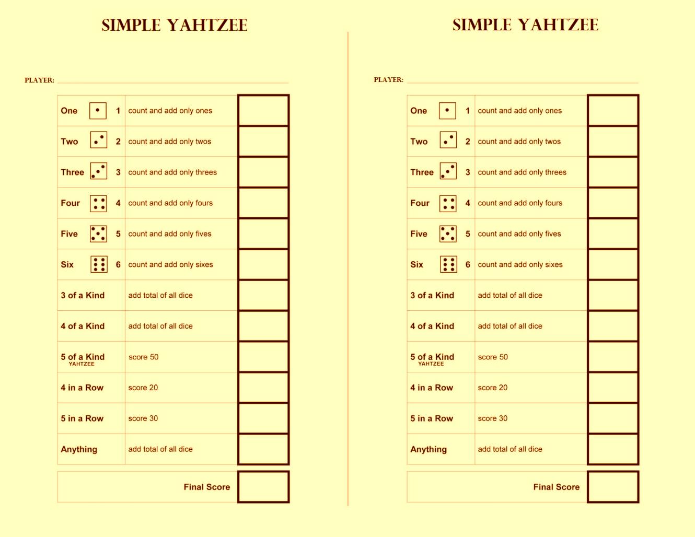 Free Yahtzee sheet printable