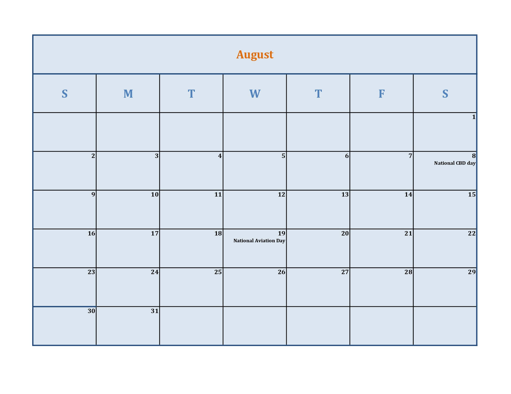 August calendar with holidays