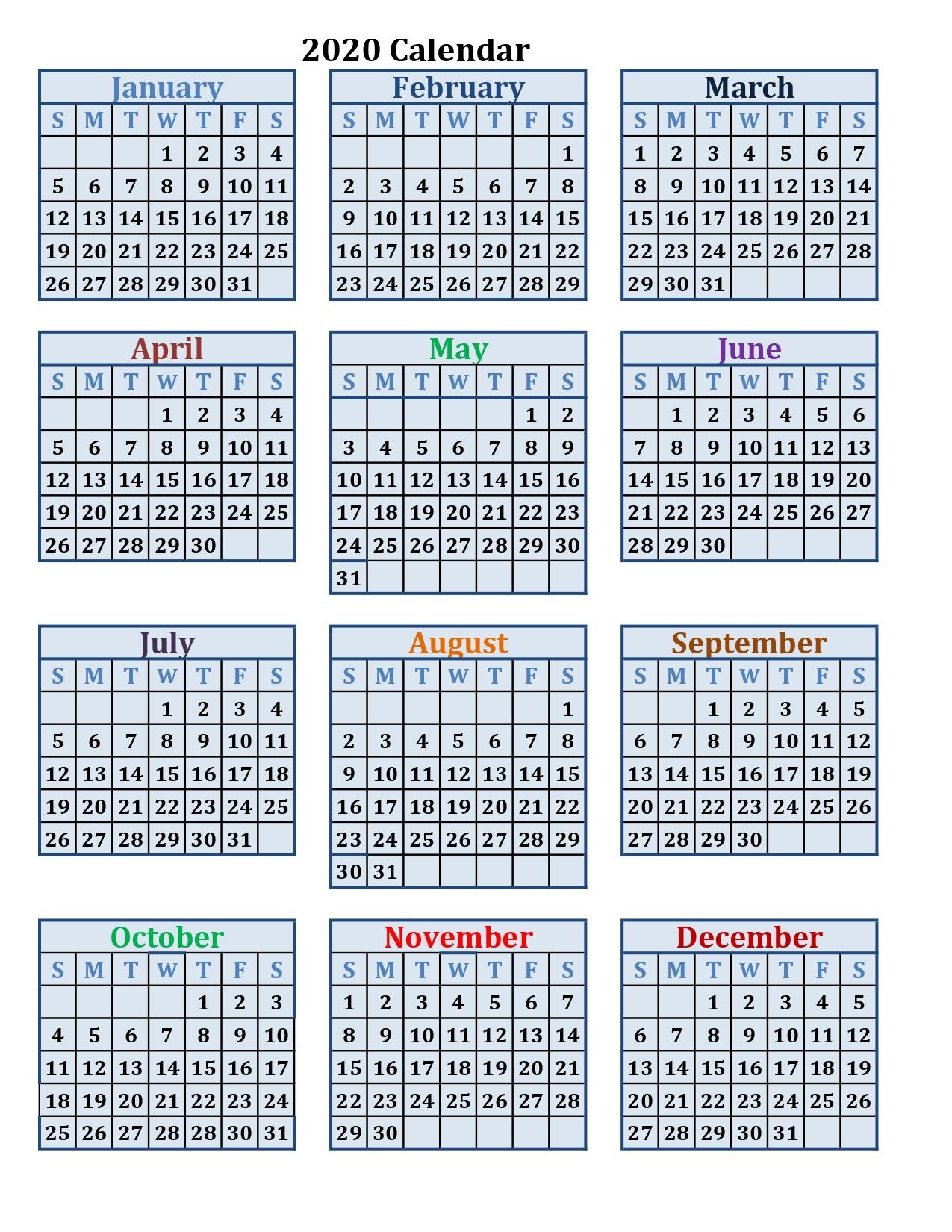 Printable calendar 2020 by month
