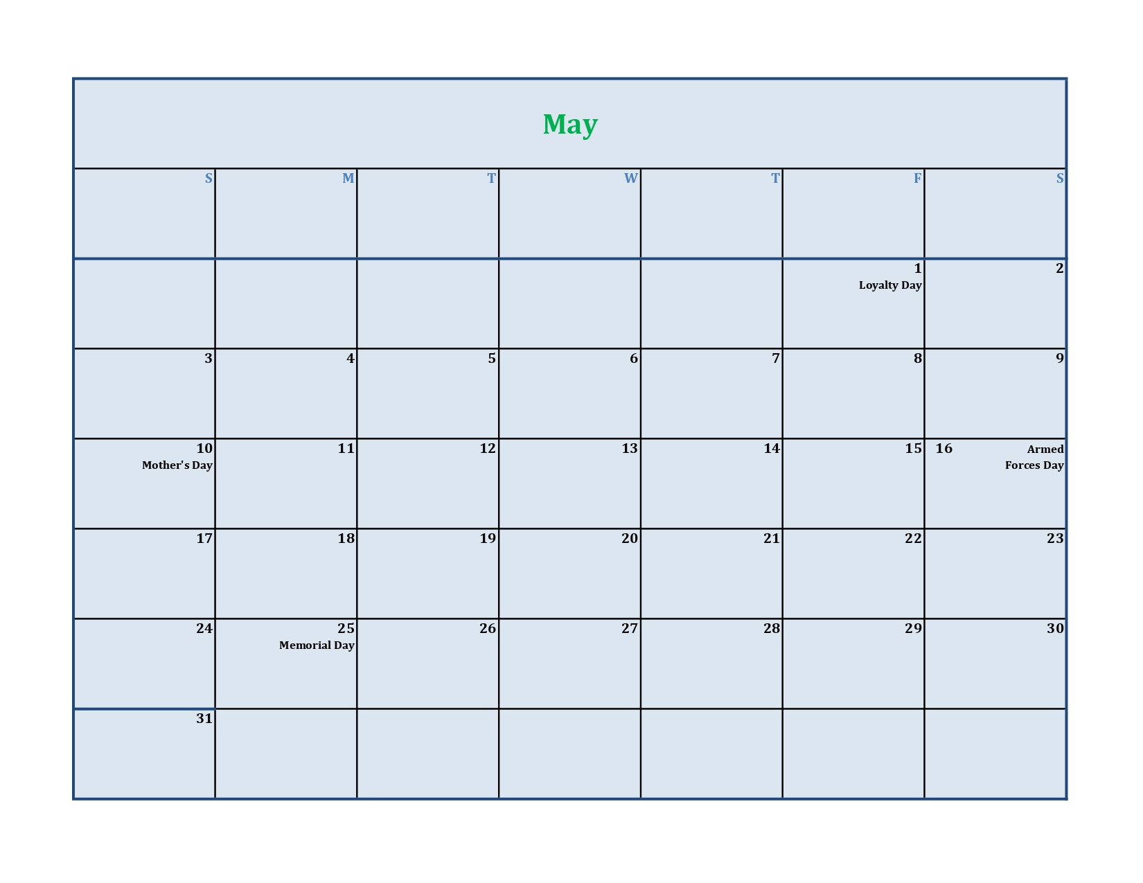 May calendar 2020 with holidays