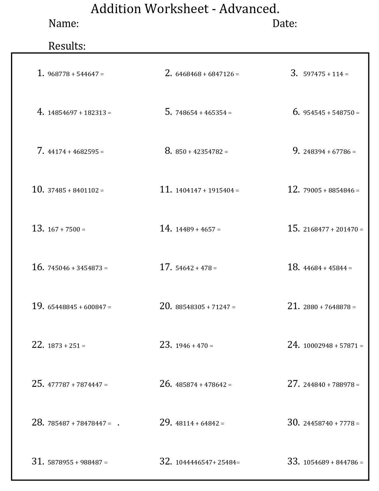 Printable Basic Addition Worksheets 1 20