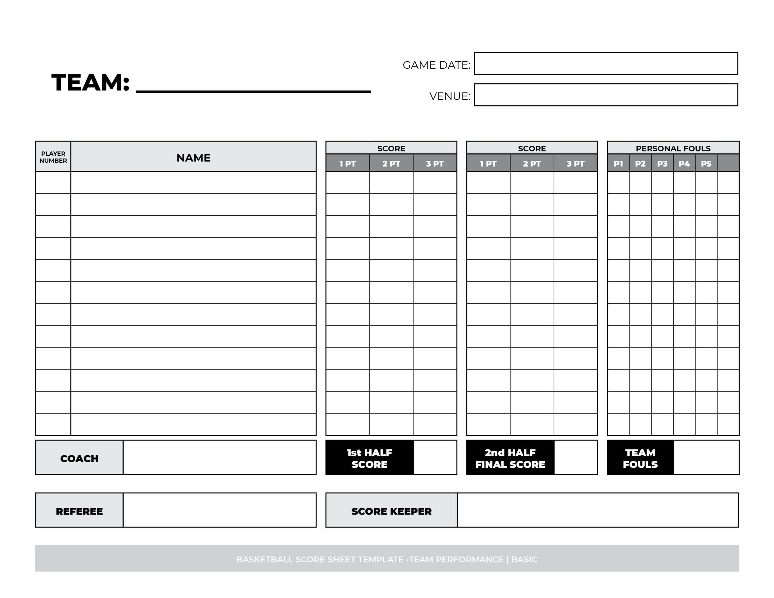 basketball score sheet printable