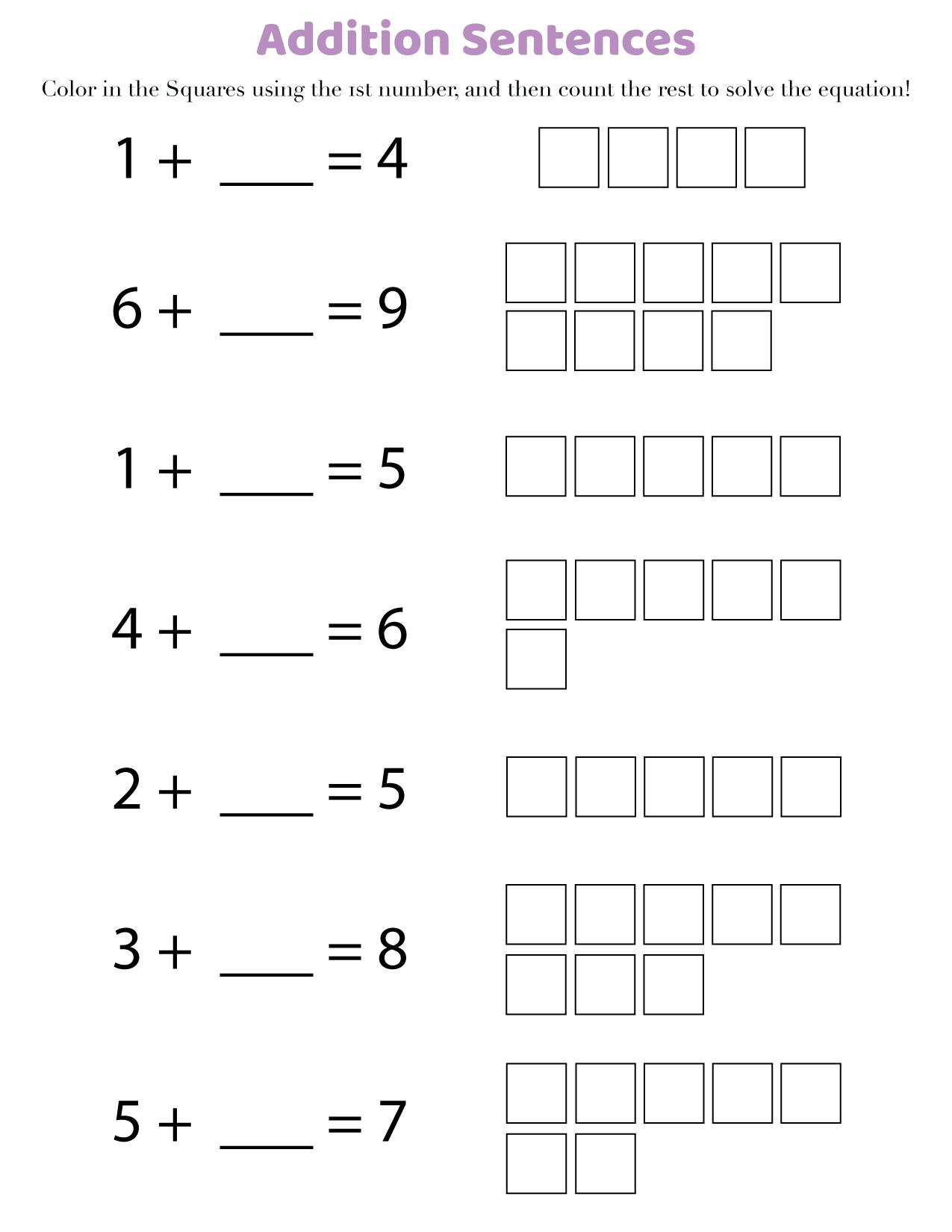 medium resolution of Free printable 1st grade math worksheets (addition) in PDF -  Printerfriend.ly