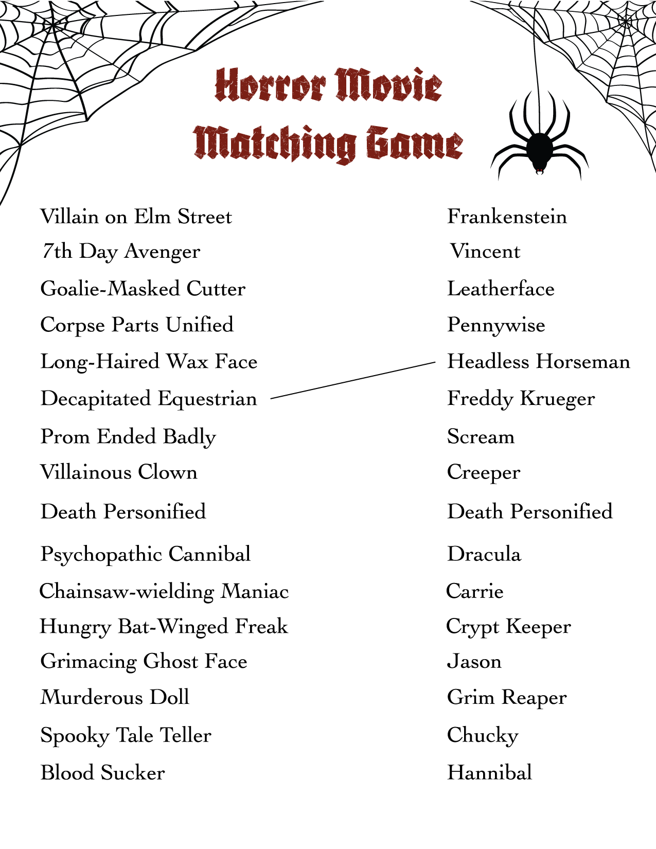 horror movie matching game