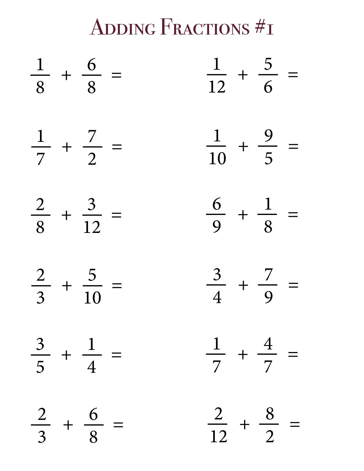 adding fractions unlike denominators