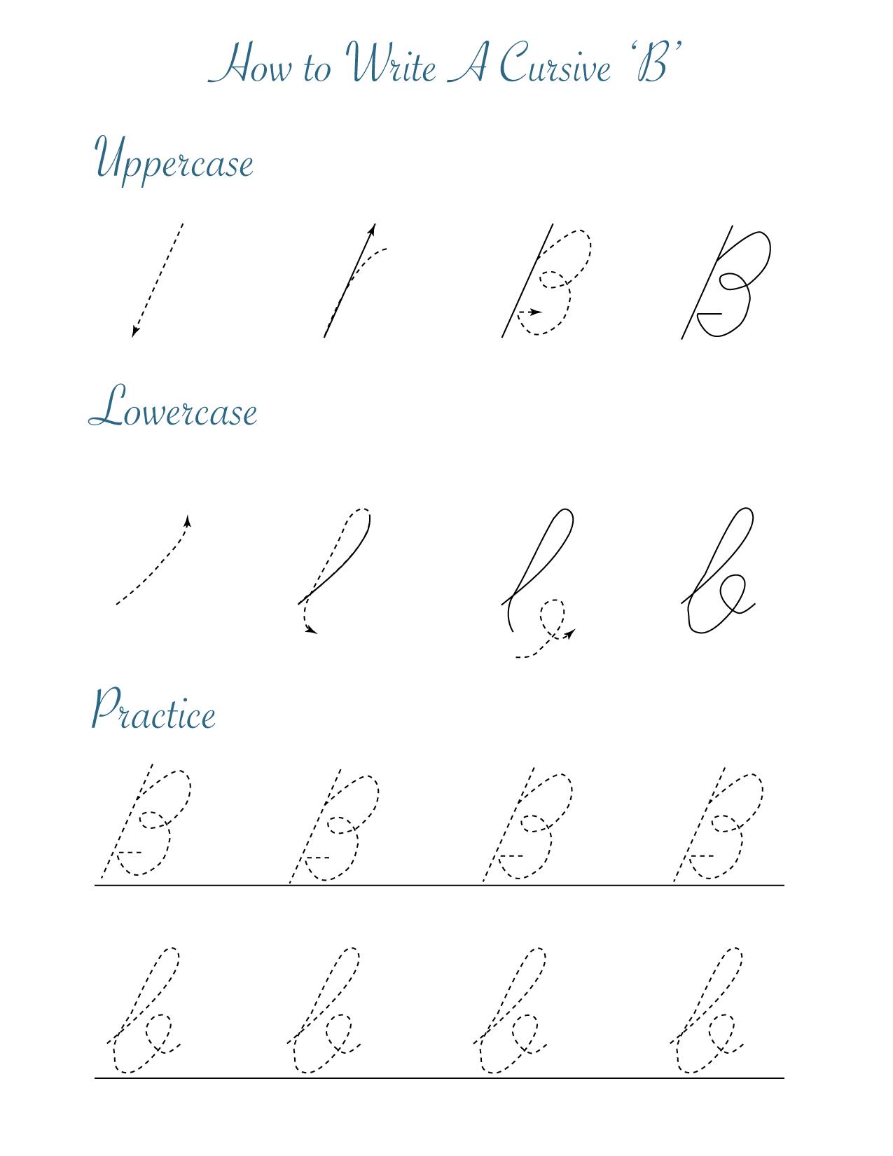 How to write a cursive B