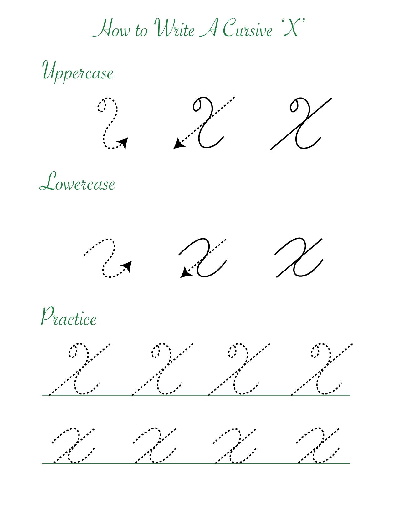 How to write a cursive X