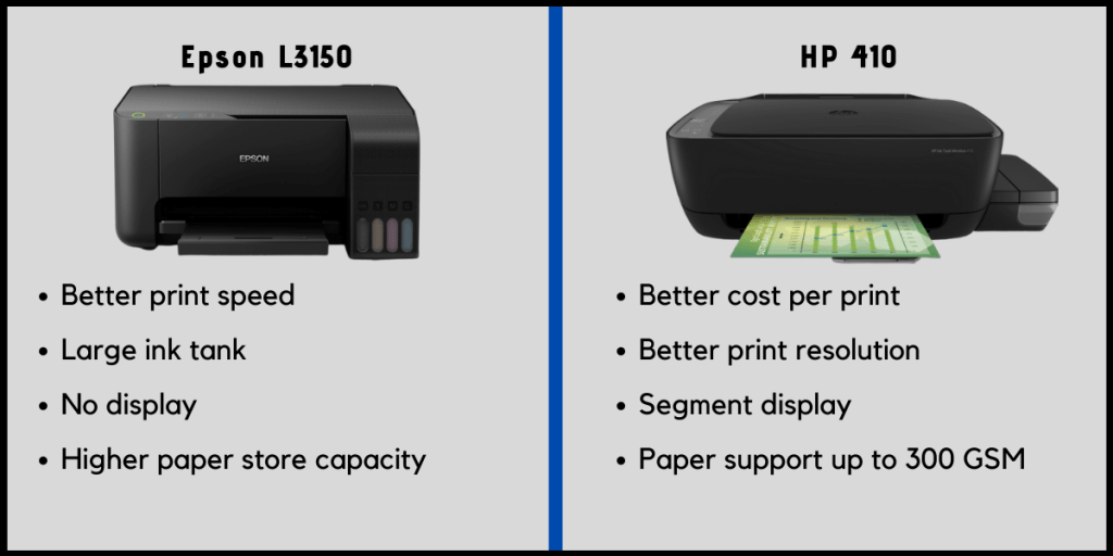 Epson L3150 vs HP 410 Printer Comparison