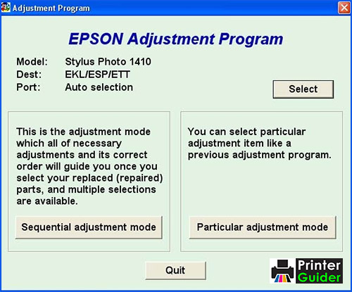 Epson 1410 Adjustment Program