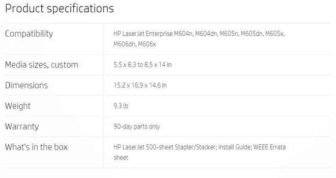HP LaserJet 500-sheet Stapler/Stacker #F2G72A