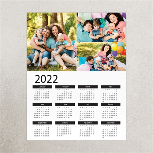 White Portrait Three Collage Large Poster Print Calendar 2019
