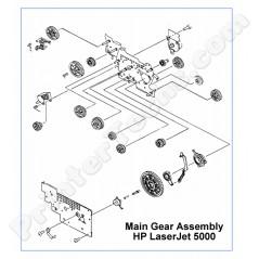 RG5-3543 HP LaserJet 5000 Main Gear Assembly , includes