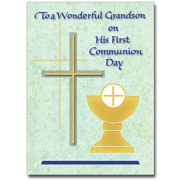 To A Wonderful Grandson First Communion Card Grandson