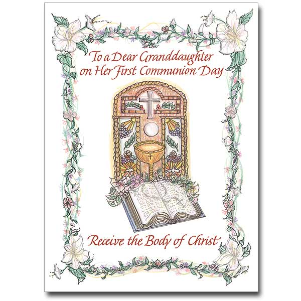 To A Dear Granddaughter First Communion Card Granddaughter