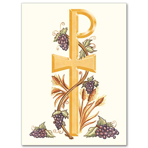 Chi Rho With Grapes And Wheat Ordination Invitations