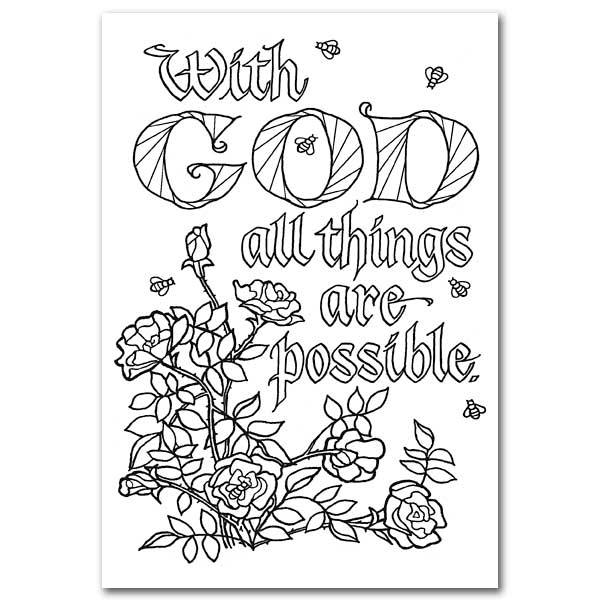 With God All Things Are Possible: Oversized Coloring Post Card