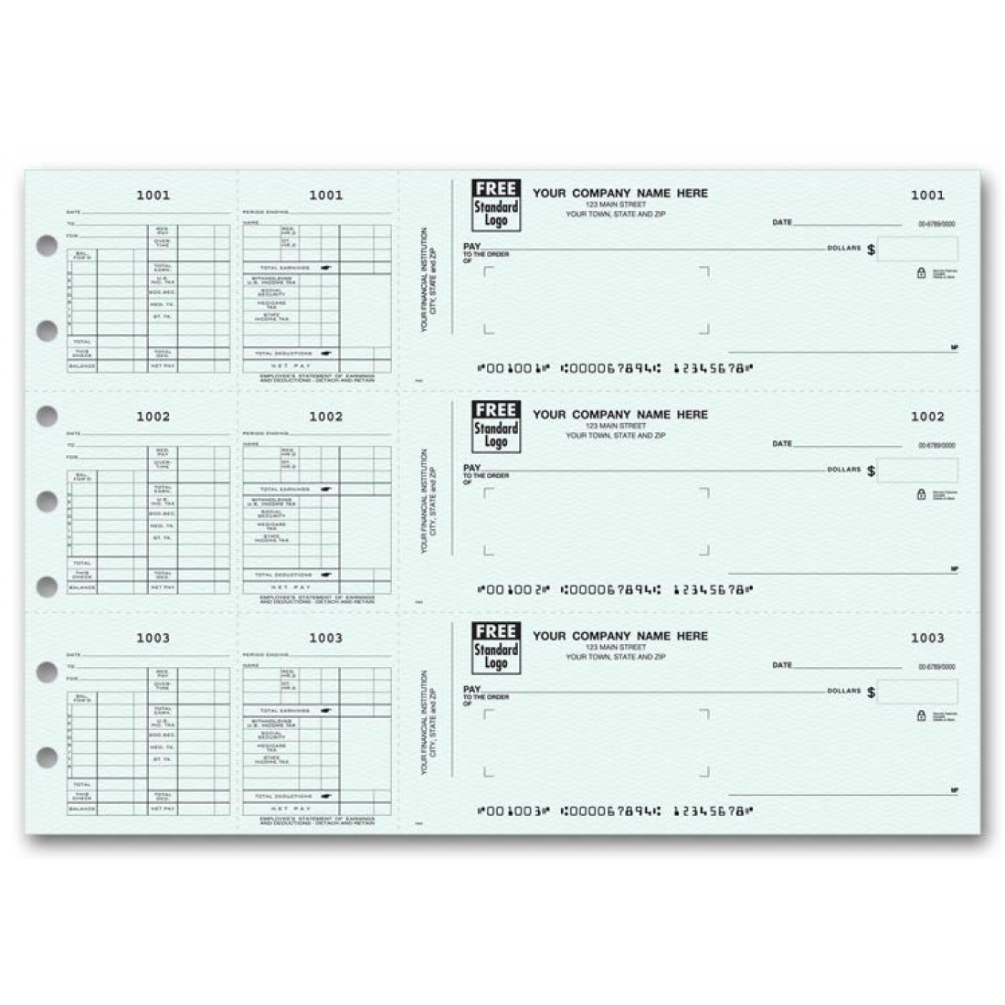 53227N, 3-To-A-Page Payroll Check for Window Envelope