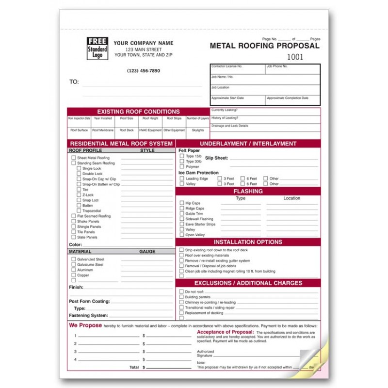 Free Roofing Proposal Forms - Hlwhy