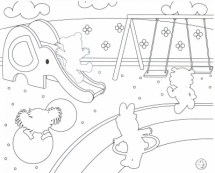 Tiger in Playgrounds Coloring Pages PrintFree