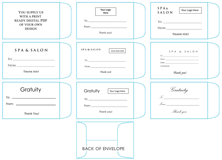 Printed Tip  Gratuity Envelopes