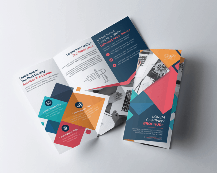 Tri-fold brochure. One is open and one is closed