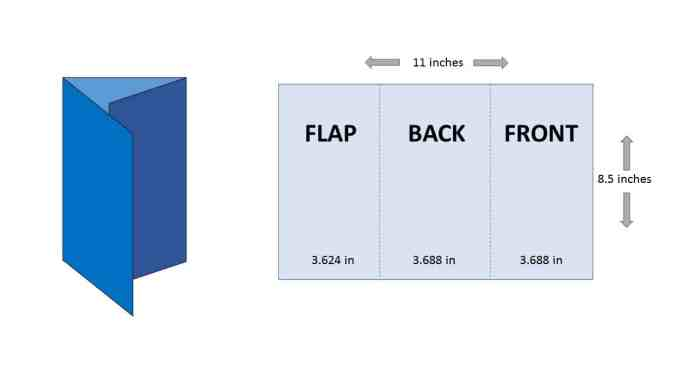 "Tri-Fold Panels Dimensions. In a 8.5"" x 11"" brochure, the ""flap"" panel is 3.624"", back/center panel is 3.688"", and the front panel is 3.688"""