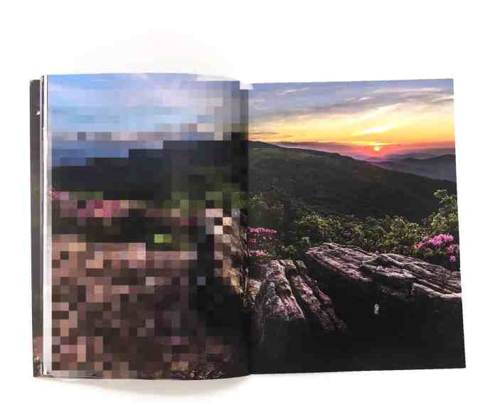 Low resolution image printed pixel. One side of the book is pixelated and the other is high resolution on printed clear