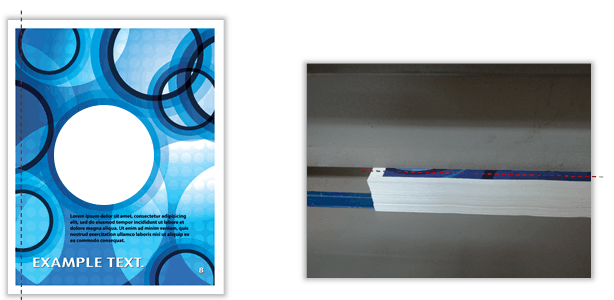 Once the full bleed file is printed, it will include the full bleed design and a white border. Then the sheets will be cut by a guillotine paper cutter which will cut off the white border and bleeds.