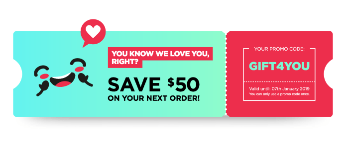 Ticket with a promo code for $50 off next order.