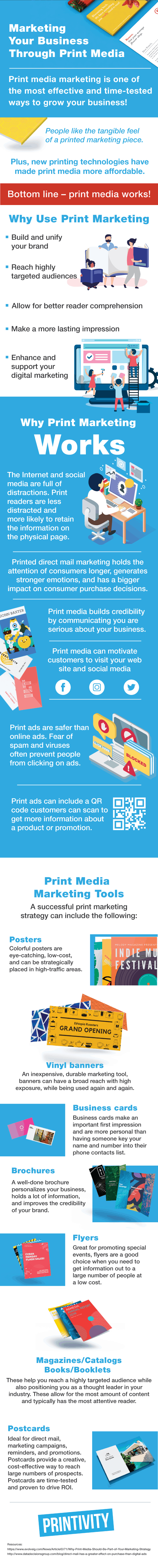 Print media is a successful way to reach customers, present your brand, and support digital marketing. Best products for print marketing is posters, vinyl banners, business cards, brochures, magazine, catalogs, and postcards.