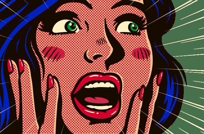 Ben dot printing of a shocked woman
