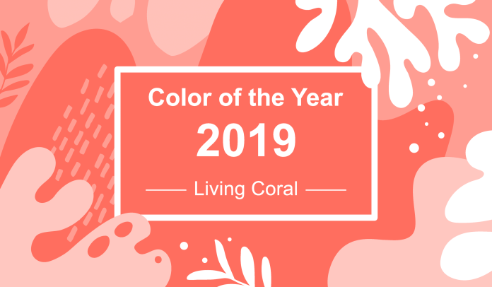 Coral background - color of the year 2019