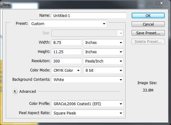 Creating a new document in Photoshop. Choose full bleed dimensions, 300 PPI resolution, and CMYK.