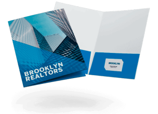 Floating presentation folders with business cards