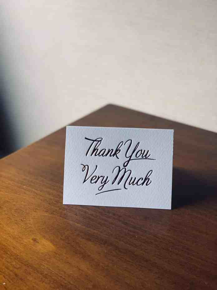 Wedding thank you card on a table