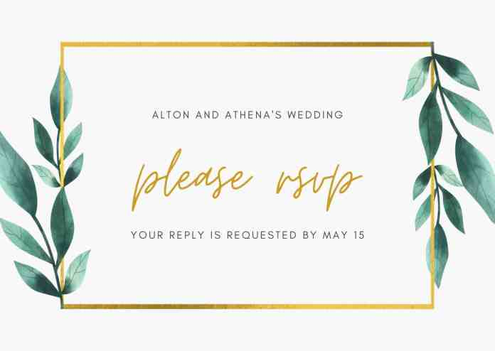 Green and Gold Box Border Geometric Floral Wedding RSVP Postcard