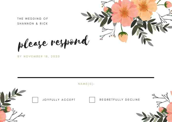 RSVP card with flowers