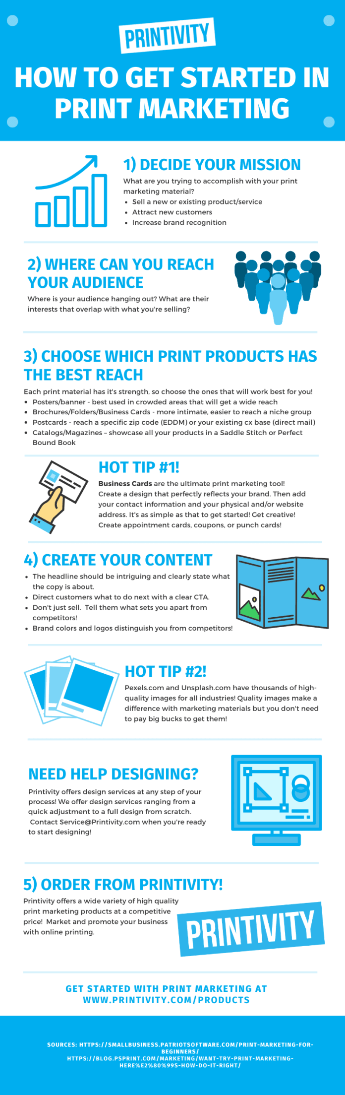Infographic with 5 steps and 3 tips for starting print marketing.